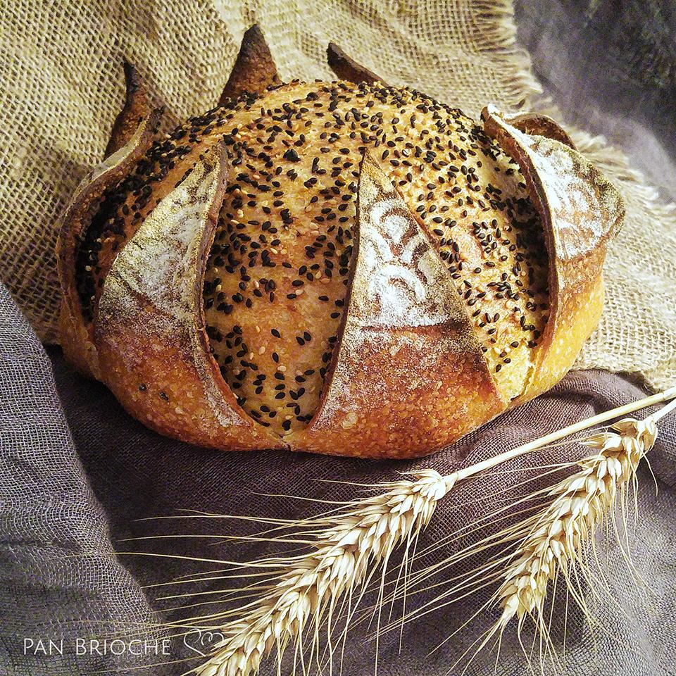 Pane di semola incamiciato con sesamo